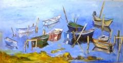 Barques étang de Thau 50x100 370€